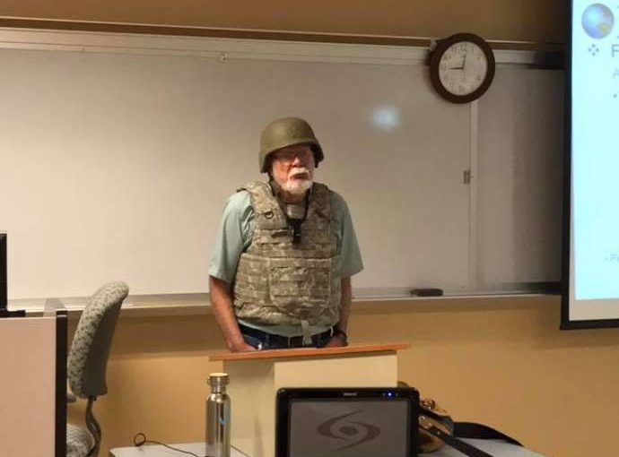 Anti-Gun Prof Protests Campus Carry with Helmet and Vest